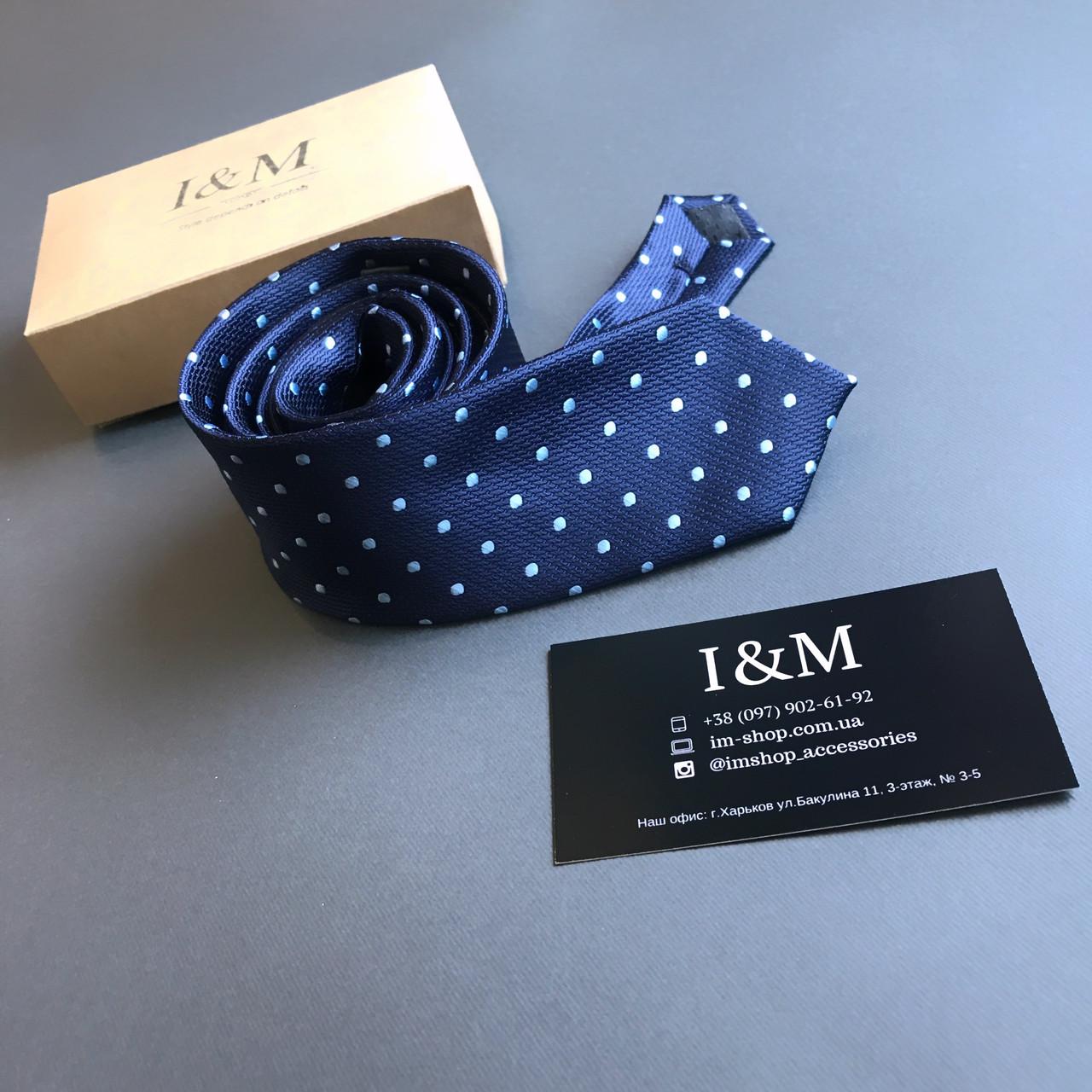 Галстук I&M Craft темно-синий в горошек (020324)