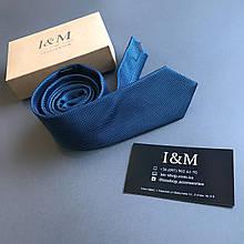 Галстук I&M Craft кобальтовый в мелкую точку (020325)