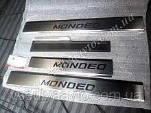 Защита порогов - накладки на пороги Ford Mondeo V седан с 2014- (Premium)