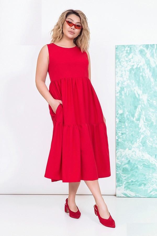 Платье женское удлиненное, красное. Размеры 48-54