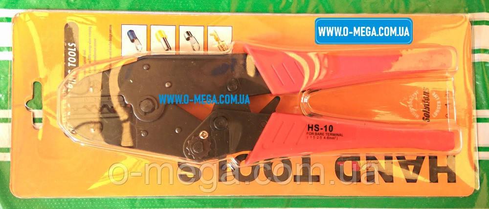 Клещи механические HS-10 для опрессовки наконечников, коннекторов и гильз без изоляции 1,5-6 мм²