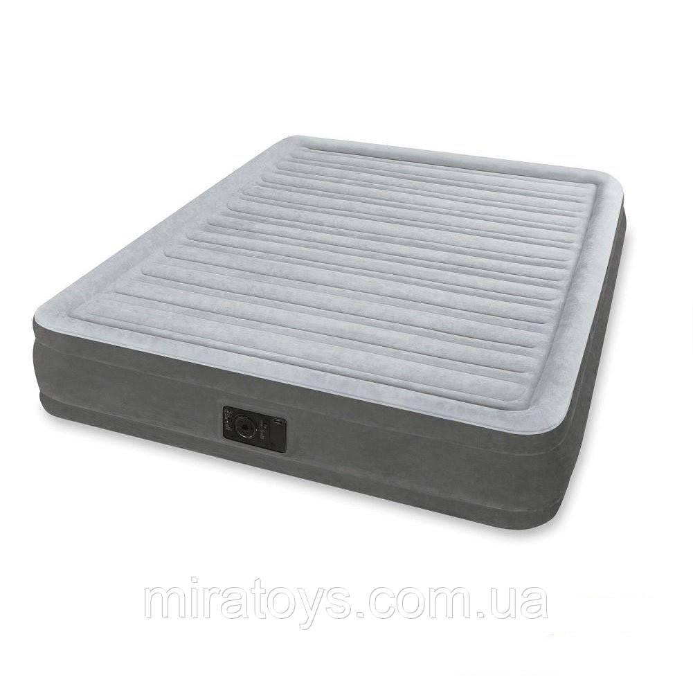 ✅Надувна ліжко Intex 67770, 152 х 203 х 32 , вбудований електронасос. Двоспальне