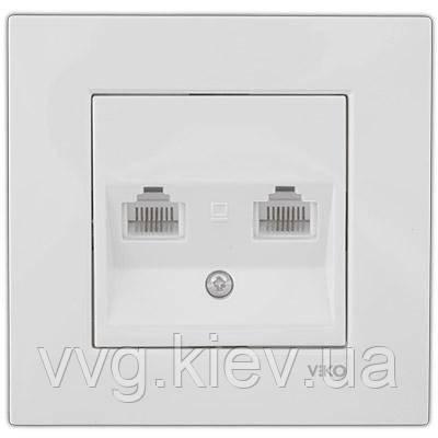 Розетка 2-я компьютерная(2X RJ45 Cat5e) белая VIKO Karre  купить по ... b8e53d1428c