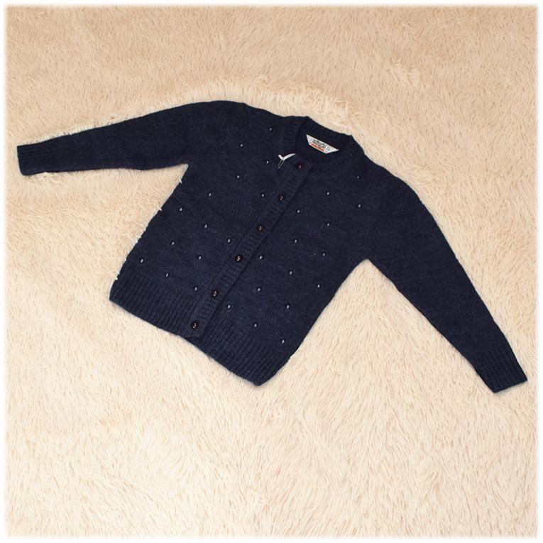 Кофта на пуговицах на девочку полушерсть синего  цвета Турция  размер  110 116