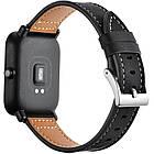 Кожаный ремешок для Xiaomi AMAZFIT Bip / 20 мм Black (Черный), фото 9