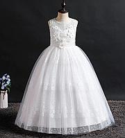 Платье белое бальное выпускное длинное в пол нарядное для девочки в садик или школу, фото 1
