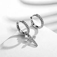 Асимметричные серьги кольца с подвеской крест бижутерия
