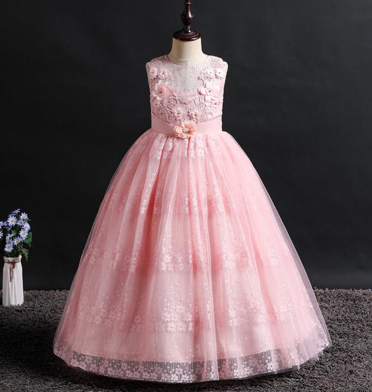 Платье розовое бальное выпускное длинное в пол нарядное для девочки в садик или школу