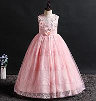 Платье розовое бальное выпускное длинное в пол нарядное для девочки в садик или школу, фото 1