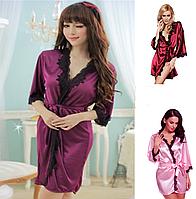 🎁 Атласный халатик Exclusive (40 размер . размер S )🎁Домашнее платье, Платье, женская ночная рубашка, женская пижама из хлопка, женская пижама,