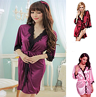 🎁 Атласный халатик Exclusive (46 размер . размер M )🎁Домашнее платье, Платье, женская ночная рубашка, женская пижама из хлопка, женская пижама,