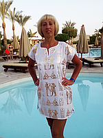 🎁 Туника с принтом Египет белая (40 размер размер S ) 🎁Ночная рубашка, Ночнушка, Ночнушка с принтом, Домашнее платье, Домашнее платье с принтом,