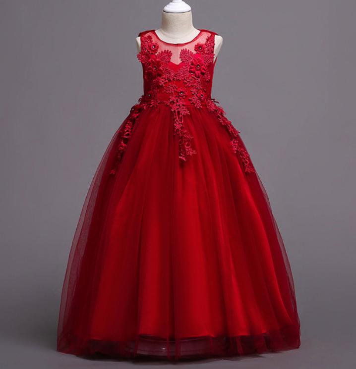 Платье бордовое бальное выпускное длинное в пол нарядное для девочки в садик или школу