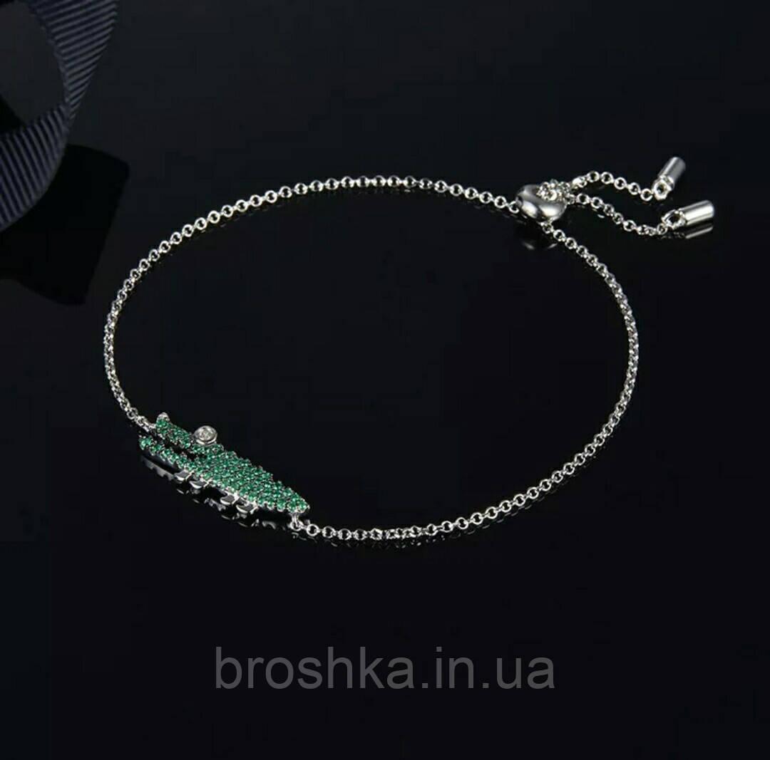 Брендовый браслет цепочка зеленый крокодил бижутерия