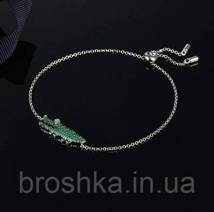 Брендовый браслет цепочка зеленый крокодил бижутерия, фото 2