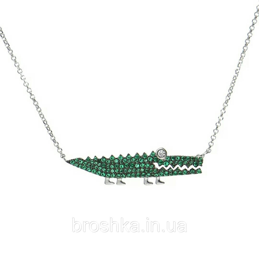 Подвеска зеленый крокодил бижутерия