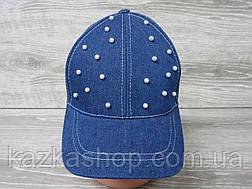 Джинсовая кепка для девочек с декоративными бусинками, сезон весна-лето, с регулятором, размер 55-56 см, фото 2