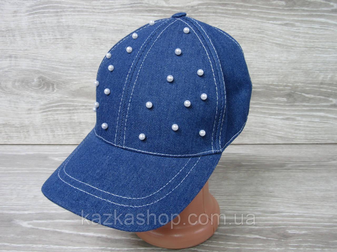 Джинсовая кепка для девочек с декоративными бусинками, сезон весна-лето, с регулятором, размер 55-56 см