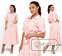 Удобное свободное льняное платье на пуговицах большого размера 48, 50, 52, 54, 56