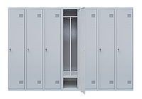 Шкаф для одежды на семь человек ШОМ 7/280 разборной с перегородкою (толщина 0,5 мм)(1800х2800х500)