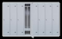 Шкаф для одежды на восемь человек ШОМ 8/320 разборной с перегородкою (толщина 0,5 мм)(1800х3200х500)