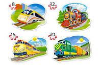"""Пазлы для детей """"Поезда 4 в 1"""""""