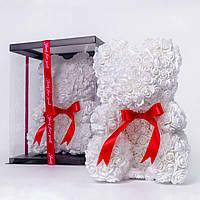 Мишка из роз в прозрачной подарочной коробке, 40 см белый. Сделан в Украине - 140160