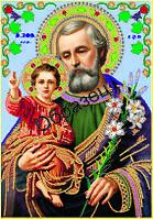Схема для контурной вышивки бисером «Святой Иосиф с младенцем Иисусом»