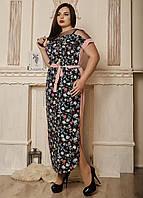 Прямое длинное батальное платье с цветами размер 50,52,54,56