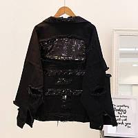 Жіноча джинсова куртка рванка з паєтками на спині чорна