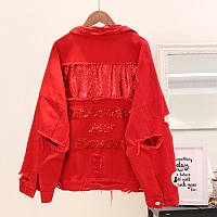 Жіноча джинсова куртка рванка з паєтками на спині червона