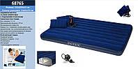 Матрас велюровий (велюровый) INTEX 68765 (3шт) синій, з подушками - 2 шт, руч. насосом - 68612, 152*203*22 см