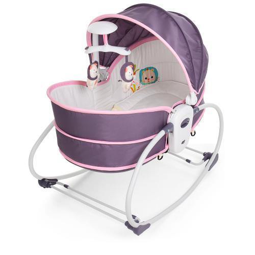 Детская люлька-качалка 6033 серо-розовая