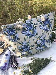 Женская пляжная сумка принт цветы