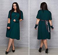 Симпатичное платье с украшением батал