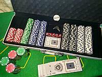 Набор для игры в покер 500 фишек в алюминиевом кейсе | Покерный набор на 500 фишек без номинала покерный набор