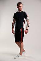 Мужской летний комплект шорты футболка с лампасами черный
