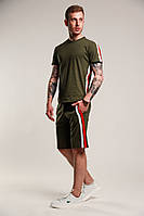 Мужской летний комплект шорты футболка с лампасами хаки (темно-зеленый)