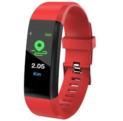 Фитнес браслет с измерением пульса и давления Smart band ID115 PLUS Red