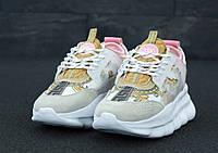 Кроссовки женские Versace Chain Reaction Sneakers реплика ААА+ (нат. замша/кожа) р. 36-41 белый (живые фото), фото 1