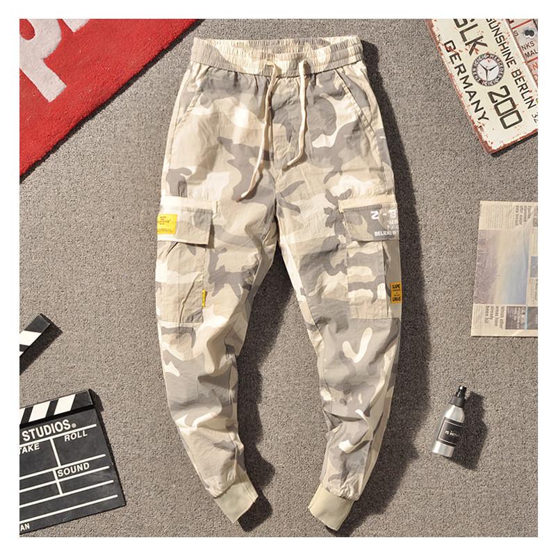 Летние штаны унисекс с манжетами, камуфляжные джогеры