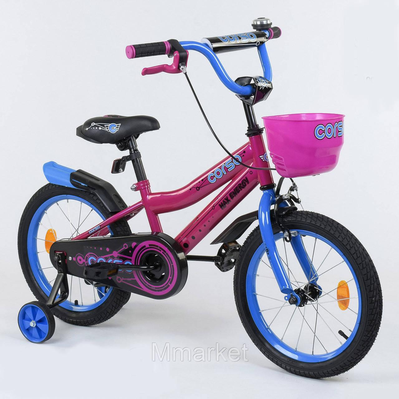 """Велосипед 16"""" дюймов 2-х колёсный R - 16410 """"CORSO"""", ручной тормоз, звоночек, сидение с ручкой, дополнительные"""