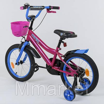 """Велосипед 16"""" дюймов 2-х колёсный R - 16410 """"CORSO"""", ручной тормоз, звоночек, сидение с ручкой, дополнительные, фото 2"""