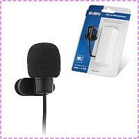 Микрофон петличка Sven MK-170, длина кабеля 1.8 м, прищепка, мікрофон петличный для компьютера, ПК и ноутбука