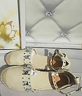 Летние босоножки женские эспадрильи цвет бежевый акционное предложение