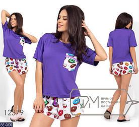 Пижама женская, костюм для сна. Ткань вискоза, штапель. Цвет фиолетовый/пончики. Размер S, M, L
