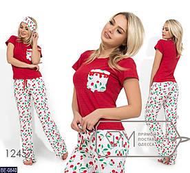 Пижама женская, костюм для сна. Ткань вискоза, штапель. Цвет красный/вишенки. Размер S, M, L