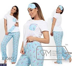 Пижама женская, костюм для сна. Ткань вискоза, штапель. Размер 48-50, 52-54
