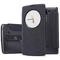 Кожаный чехол книжка Nillkin Sparkle для LG Magna чёрный