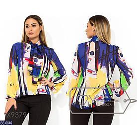 Блуза женская Яркий принт. Размер 48, 50, 54. Ткань шифон